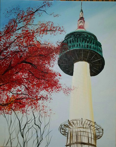 Painting with a twist namsan tower korean american for Painting with a twist alamo ranch