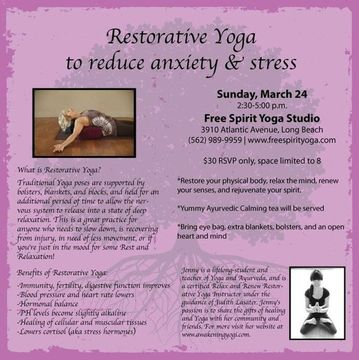 restorative yoga workshop to reduce anxiety and stress